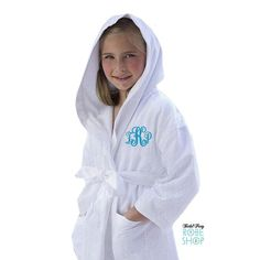 Personalized Hooded Flower Girl Robe with by BridalPartyRobeShop Flower Girl Robes, Hoods, Rain Jacket, Windbreaker, Monogram, Flowers, Jackets, Shopping, Fashion