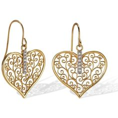 14k Two Tone Gold Diamond Filigree Heart Earrings found on Polyvore