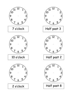 Telling the time to o\'clock/half past   work sheets for kids ...