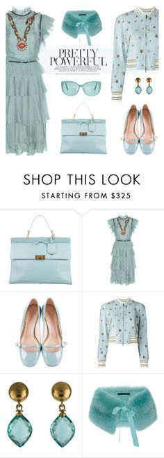 """sage me up"" by pensivepeacock ❤ liked on Polyvore featuring Balenciaga, Gucci, Valentino, Vaubel and Linda Farrow"