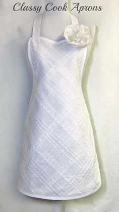 Apron BRIDAL White LACEY Pintuck ROMANTIC Glamor Apron, by ClassyCookAprons, $42.50