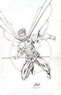 Robin - Rob Liefeld in Emilien SERRET's Sketchs and commissions Comic Art Gallery Room Superhero Sketches, Drawing Superheroes, Comic Book Superheroes, Comic Books Art, Comic Pics, Comic Pictures, Rob Liefeld, Sketch Pad, Batman Family