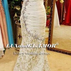 Wedding dress, crystal lace mermaid wedding dress