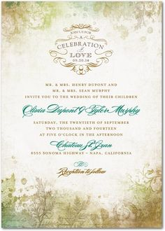 Signature White Textured Wedding Invitations Romantic Regency - Front : Deep Sea Green