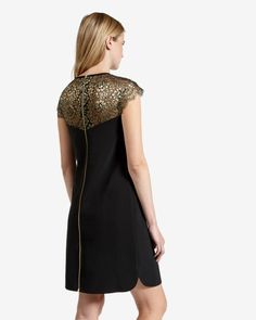 Lace detail dress - Black | Dresses | Ted Baker UK