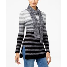 Hooked Up by Iot Juniors' Ombre-Striped Tunic Sweater with Scarf ($25) ❤ liked on Polyvore featuring tops, sweaters, grey combo, gray sweater, striped sweater, gray top, grey sweaters and ombre top