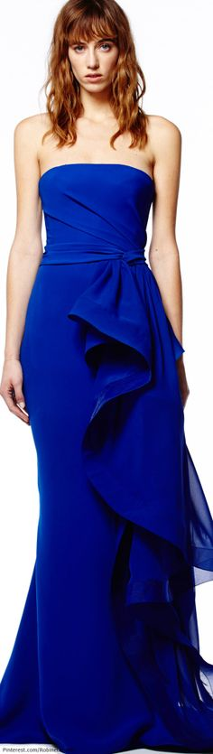 Everyone should own something in this color. My new Manolo BB's would go perfectly with this dress. Reem Acra | Pre-Fall 2014