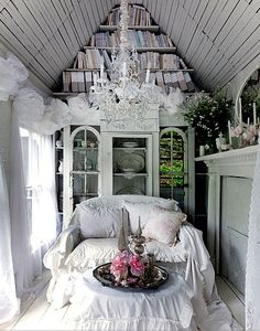 #shed I probably wouldn't go this shabby chic. There might be more color. Must haves: built in glass door bookcases and a working fireplace.