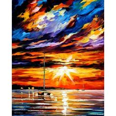 """Sunset Melody"" - Pallete Knife Original Recreation Oil Painting On Canavs By Leonid Afremov"