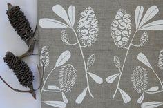 Items similar to Linen Tea Towel Screen Printed Linen Tea Towel Hand Printed White&Natural Australian Banksia on Etsy Blue Towels, White Towels, Tea Towels, Retro Flowers, Retro Floral, Screen Printing Press, Flower Lights, Nautical Theme, Seaside Theme