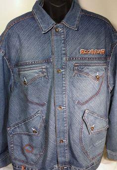 Rocawear Mens Size Large Denim Jean Jacket #Rocawear #JeanJacket