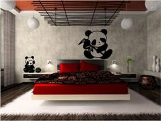 Japanese Modern Bedroom Interior Design Ideas With Abstract Vinyl Wall  Stickers Decals Wonderful Decoration In Small Bedroom For Your Design  Design Interior ...