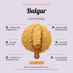 Have you ever eaten Bulgur or would you prefer to eat couscous? To click . Diet And Nutrition, Nutrition Chart, Proper Nutrition, Nutrition Guide, Nutrition Education, Smoothies, Smoothie Drinks, Couscous, Healthy Diet Recipes