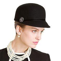 ab68e16abba FS British Style Black Woo Equestrian Hats For Womens Winter Wool Felt  Floppy Fedora Rhinestone Wide Brim Bowler Cloche Hat