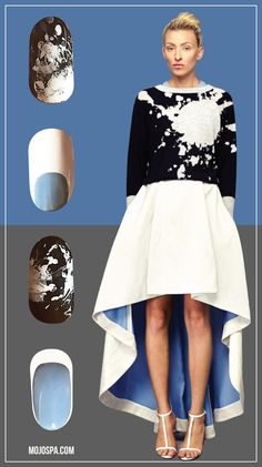 Mojo Spa™ | Fashion Wednesday: Jonathan Cohen nailart inspired by fashion with black white and powder blue