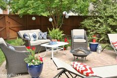 Red, White, and Blue Coastal Patio.  Patio set from Target.  http://www.target.com/p/threshold-belvedere-4-piece-wicker-patio-conversation-set/-/A-14908596#prodSlot=large_1_16