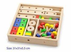 Constructie set New Classic Toys cm Nct, Dementia Activities, Shops, Flat Head, Can Design, Classic Toys, Wood Blocks, Wooden Boxes, Malec