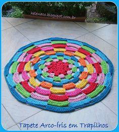 Tapete Arco-Íris em Trapilhos ou Fio de Malha, Crochet Rag Rug