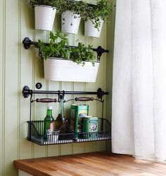http://www.boxwoodclippings.com/wp-content/uploads/2012/08/Picture-5.png  Cute way to have plants in the house without having to have a tabletop for them. :)