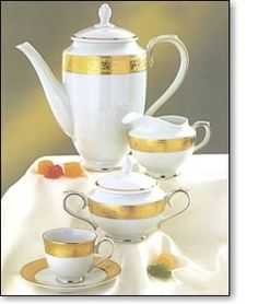 This is a tea set with real 24 karat gold.  Absolutely beautiful but somewhat traditional.