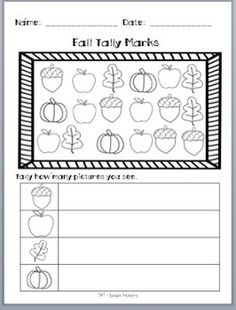 FREEBIE!  Fall Tally & Graphing Fun- This would be so much fun for a fall nature walk!  He can color then laminate it for reuse!