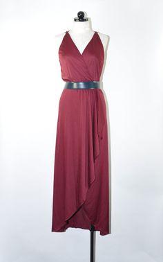 burgundy maxi dress / wrap jersey dress / maroon by QuietUnrest