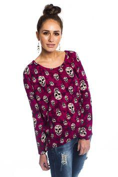 Daisystreet Easton Skull Print Knit Top in Grunge Pink   http://www.daisystreet.co.uk/easton-skull-print-knit-top-in-grunge-pink