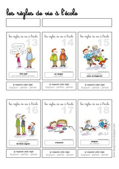 danger école: Les règles de vie, auto-évaluation French Teacher, Teaching French, French Education, Kids Education, French Classroom, School Classroom, Bbc Schools, School Discipline, School Organisation