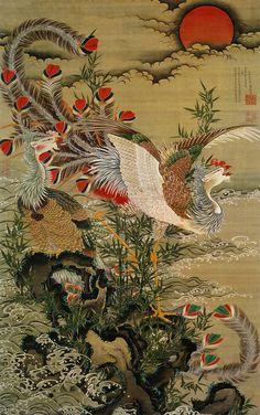 shigatsunoame:  Rising Sun and Phoenix. Ito Jakuchu.1755.