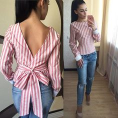 Sexy Backless Stripe Lace Up Flax Blouse - 2019 Backless 2018 Plus Size Sexy Striped Open Back Deep V Tops Long Sleeved Bandage Shirt for Women Ladies Autumn Clothes Ruffle Slim Solid Deep V-neck Short Coat Sewing Clothes Women, Diy Clothing, Clothes For Women, Shirt Refashion, Diy Shirt, Diy Fashion, Fashion Outfits, Fashion Design, Fashion Women
