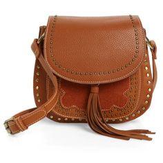Women's Shiraleah Skylar Faux Leather Saddle Bag (110 BRL) ❤ liked on Polyvore featuring bags, handbags, shoulder bags, saddle, brown saddle bag, brown handbags, vintage purses, vegan handbags and brown shoulder bag