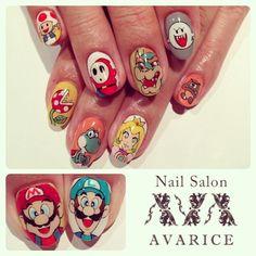 Super Mario Bros. art nails #SuperMarioBros. #avarice #art #kayo #design #nails #nailart #nailsalon #nailsalonavarice #anime #game (NailSalon AVARICE)
