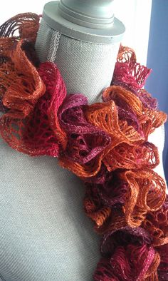 Hand Knitted Ruffle Scarf by shorethingdesigns on Etsy, $25.00