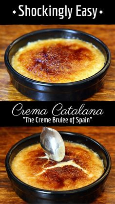 Homemade Spanish Crema Catalana Crema Catalana, Spain's version of creme brulee, is way easier to make at home that I ever thought! This shockingly easy dessert recipe is spiced with cinnamon and lemon peel. It's one of Spain's most traditional desserts! 13 Desserts, Brownie Desserts, Delicious Desserts, Dessert Recipes, Yummy Food, Cinnamon Desserts, Desserts From Spain, Dessert Ideas, Chocolate Cheesecake