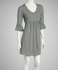 Another great find on #zulily! Reborn Collection Black Houndstooth Bell-Sleeve Dress by Reborn Collection #zulilyfinds