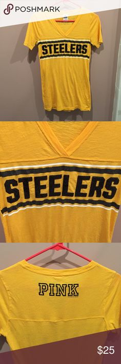 Steelers V neck t-shirt Color is yellow, words spread out around bust area in sequin detail, size small, great for game day wears to rep your teams. 60% cotton and has had minimal wear. Tops Tees - Short Sleeve