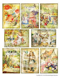 8 Vintage Alice in Wonderland Easter Bunnies by lovecreationgal, $4.25
