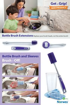 """Bottle Brush Extensions: Replace your brush heads, not the entire brush. Easy-to-fit extensions help you get hard-to-clean containers spotless. Two sizes offer the perfect fit for use with your Bottle Brush handle (sold separately). Dishwasher safe. Bottle Brush Extensions easily snap onto Bottle Brush handle to reach the bottoms of tall vases and bottles. 19.8cm x 6cm / 7.8"""" x 2.4"""" 26.1cm x 3.5cm / 10.3"""" x 1.4"""" Item #: 357013 set of 2"""