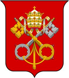 """Coat of arms of the Holy See by  F l a n k e r - Donald Lindsay Galbreath, A Treatise on Ecclesiastical Heraldry (W. Heffer and Sons, 1930), p. 9; Bruno Bernhard Heim, Heraldry in the Catholic Church: Its Origin, Customs and Laws (Van Duren 1978 ISBN 9780391008731), p. 54; Heraldry Society of Great Britain; Michel Pastoureau, """"Keys"""" in Philippe Levillain, The Papacy: An Encyclopedia (Routledge 2002 ISBN 9780415922302), vol. 2, p. 891"""