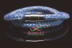 Blue and grey in a double wrap, this Ropelet is handmade to your order at www.ropelet.co.uk the hoe of handmade rope bracelets #ropelet #ropebracelet #bracelet #mensstyle #mensfashion #wristband