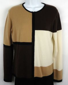 Lord & Taylor Cashmere Sweater-Women's Small-Brown/Tan/Cream/Black (#111) #LordTaylor #FullZip