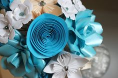 Paper Flower Bouquet  Mixed flowers by MyWoollyMammoth on Etsy, $30.00