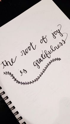 The root of joy is gratefulness  | Some doodling by Emily Schneider #handwriting #calligraphy #moderncalligraphy #joy #grateful #gratefulness #handlettering #lettering