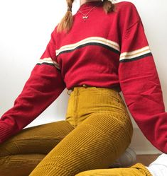 "552c3da55f2 LIBBY ✱ ✧ ☼ on Instagram  ""What are your favourite colour combos to wear  together  🍓🌽 (I ll be listing this jumper on my Depop dis evening!!)"""