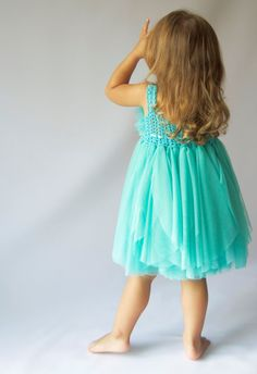 1ca9e611a5f9 Teal Baby Tulle Dress with Empire Waist and Stretch by AylinkaShop Baby  Tulle Dress