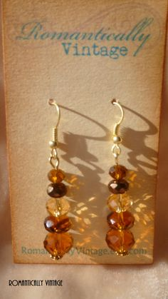 ce846c589b33 Country Brown Crystal Stacked Earrings by RomanticallyVintage