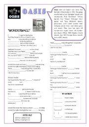 English teaching worksheets: Wonderwall
