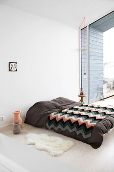 lana wool diy crochet knit bed cama interior decoración decoration chevron estampado pattern print miraquechulo