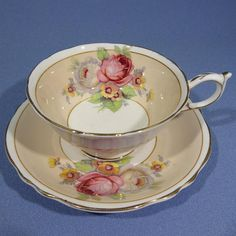 Pink Rose Paragon Tea Cup and Saucer Cream Beige Paragon with
