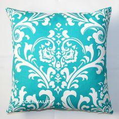 Premier Prints Ozborne Turquoise Damask Pillow Cover- 20x20 inches- Hidden Zipper Closure. $22.95, via Etsy.